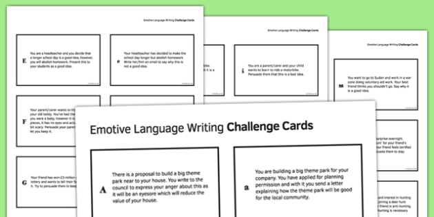 Emotive Language Writing Challenge Cards - emotive, language, writing challenge, cards