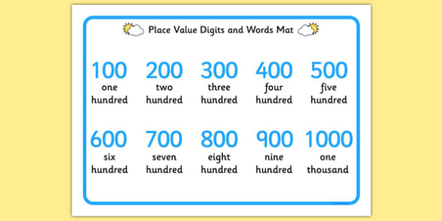 Place Value Digits and Words Mat 100-1000 - place value, digits, words, mat, 100-1000