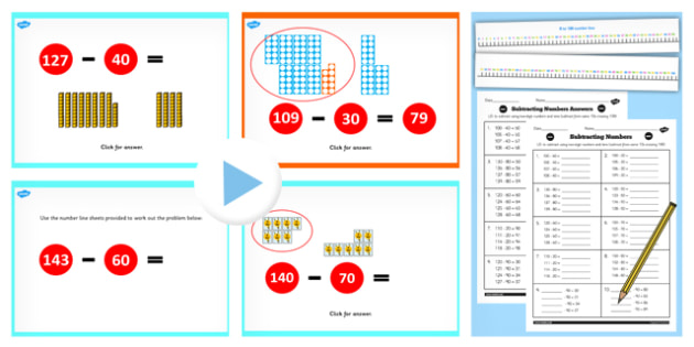 Year 2 Subtracting 2 Digit Numbers and Tens Crossing 100 Same 10s