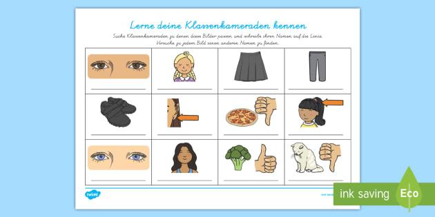 NEW * Lerne deine Klassenkameraden kennen Arbeitsblatt - 1.