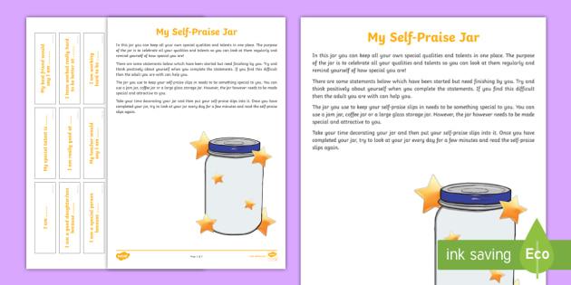 Self-Praise Jar Worksheet - young people, self-esteem, confidence