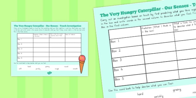 Our Senses Touch Investigation to Support Teaching on The Very Hungry Caterpillar - australia