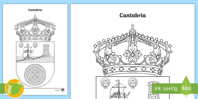 Hoja de colorear: El escudo de Cantabria - Mapas, provinicias