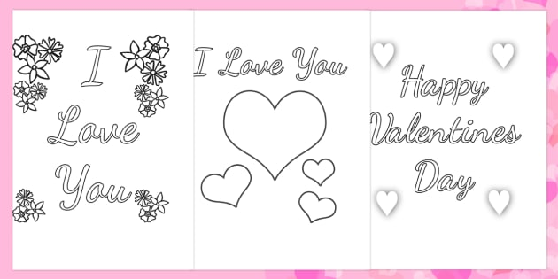 Valentine 39 s Day Card Colouring