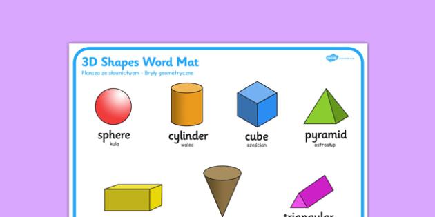 3D Shape Word Mat Polish Translation - polish, 3d shape, word mat, word, mat, 2d, shape