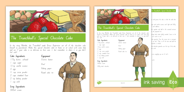 The Trunchbull's Special Chocolate Cake Recipe to Support Teaching on Matilda - New Zealand Chapter Chat, Chapter Chat NZ, Chapter Chat, matilda, Matilda, Roald Dahl, Novel Studies
