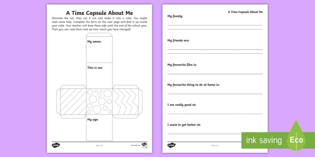 Ks1 A Time Capsule About Me Worksheet Activity Sheet All
