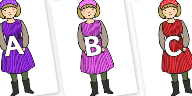 A-Z Alphabet on Rapunzels Mother - A-Z, A4, display, Alphabet frieze, Display letters, Letter posters, A-Z letters, Alphabet flashcards