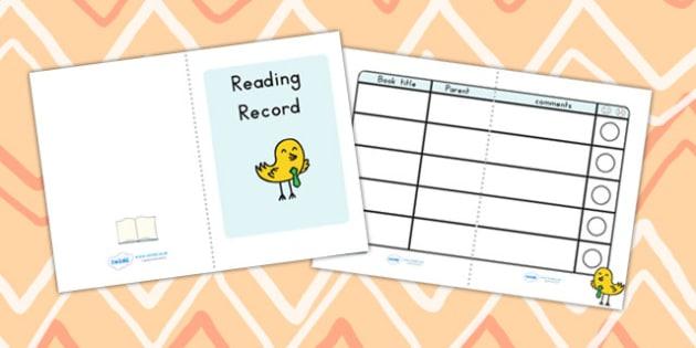 Reading Record Booklet - reading, reading record, booklet, books