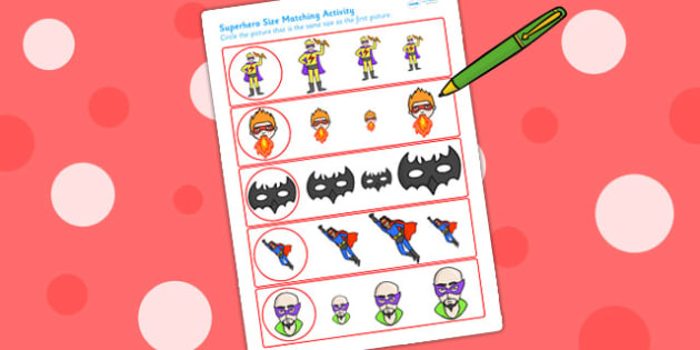 Superhero Themed Size Matching Worksheet - superheroes, size