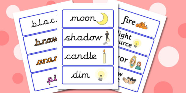 Light and Colour Topic Word Cards (New Lower) - light, dark, colours