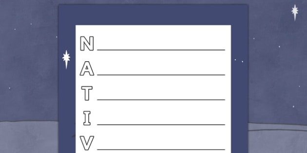 Nativity Acrostic Poem - acrostic poems, acrostic poem, acrostic, poem, nativity, the nativity, acrostic poem about the nativity, christmas, xmas, poetry, literacy, writing activity, activity,
