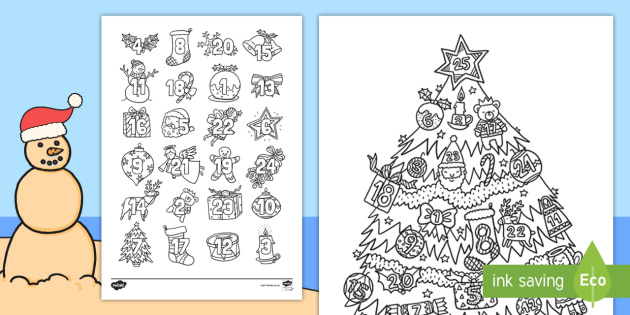 christmas mindfulness advent calendar colouring pages englishafrikaans december numbers christmas tree