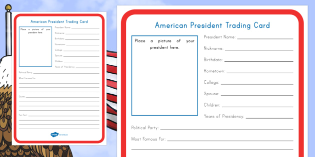 American President Trading Card Worksheet / Activity Sheet - KS2, Presidents Day, American Presidents, American History, Social Studies,worksheet,  Barack Obama,