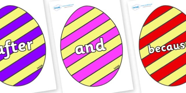 Connectives on Easter Eggs (Stripes) - Connectives, VCOP, connective resources, connectives display words, connective displays