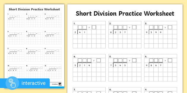 Year 5 Maths Division Short Division Interactive Pdf Short division worksheet twinkl