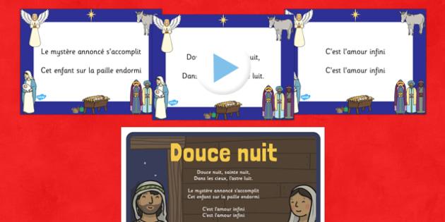 Paroles du chant de Noël Douce nuit, sainte nuit Powerpoint  - french, silent night, christmas carol