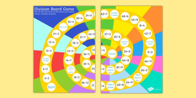 Division Board Game - division, divide, numeracy, board game