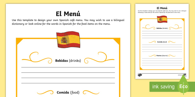 spanish template role play menu spanish food spanish. Black Bedroom Furniture Sets. Home Design Ideas