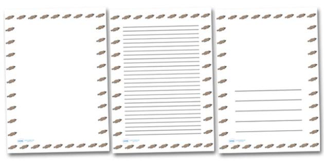 Platypus Portrait Page Borders- Portrait Page Borders - Page border, border, writing template, writing aid, writing frame, a4 border, template, templates, landscape