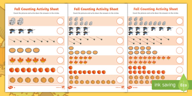 Fall Differentiated Counting Activity Sheet, worksheet