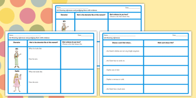 Inferences and Justifying Opinions Worksheet to Support Teaching on The BFG - bfg, sheet