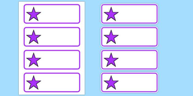 Editable Purple Stars Drawer, Peg, Name Labels - Editable Label Templates, star, stars, Resource Labels, Name Labels, Editable Labels, Drawer Labels, Coat Peg Labels, Peg Label, KS1 Labels, Foundation Labels, Foundation Stage Labels, Teaching Label