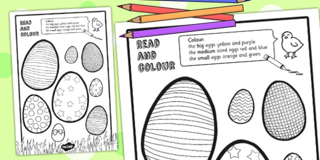 Easter Egg Read and Colour Activity Sheet - easter, easter egg, worksheet