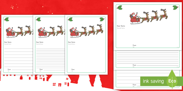 Letter to Santa Writing Template US English/Spanish (Latin)