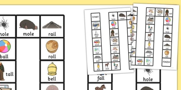 Final 'L' Sound Board Game - l sound, final, board game, board