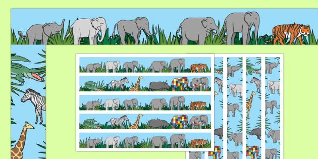 Display Borders to Support Teaching on Elmer - Elmer, Elmer the elephant, resources, Elmer story, patchwork elephant, PSHE, PSE, David McKee, colours, patterns, story, story book, story book resources, story sequencing, story resources, Display borde