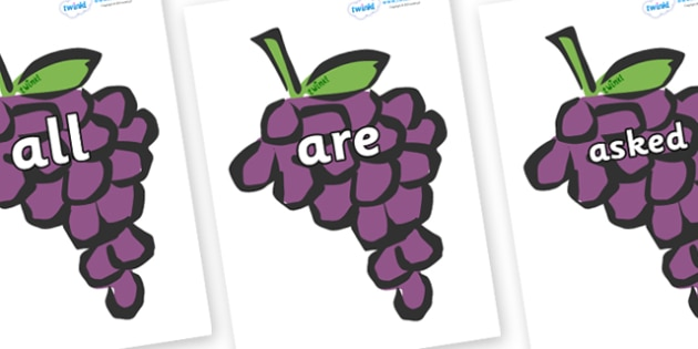 Tricky Words on Grapes - Tricky words, DfES Letters and Sounds, Letters and sounds, display, words