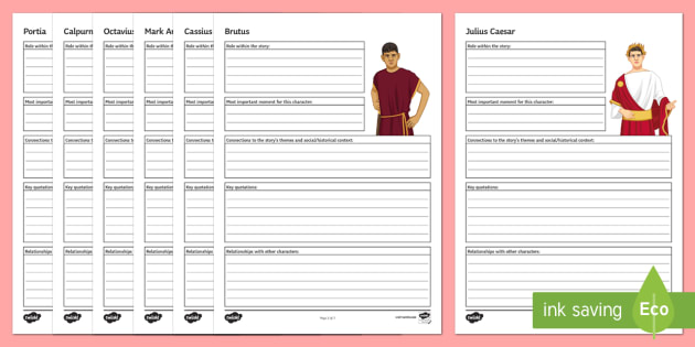 Gcse Julius Caesar Character Profile Worksheet Activity