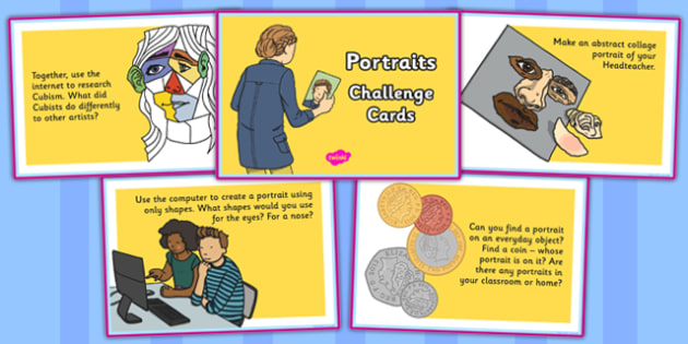 Portraits Challenge Cards - portraits, challenge, cards, art