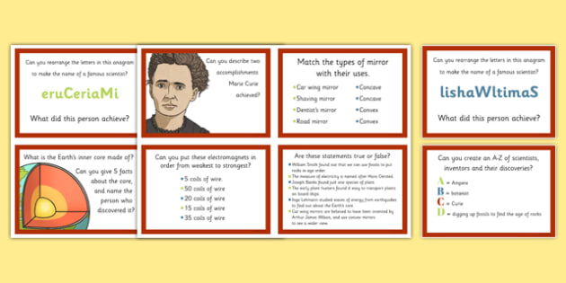 Scientists and Inventors Challenge Cards - Marie Curie, William Smith, Inge Lehmann, botany, geology, seismology, Earth layers, fossils, rocks, skeleton, plants, magnets, electromagnets, mirrors, concave, convex