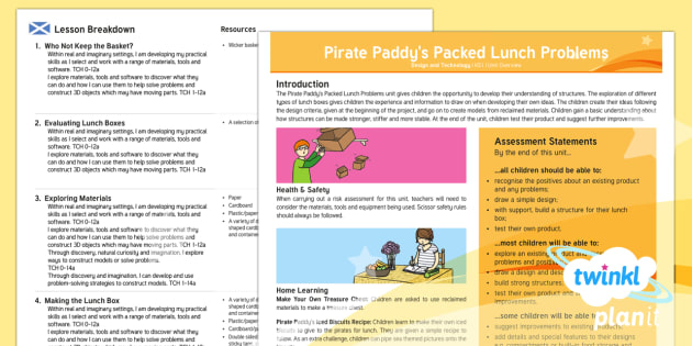 D&T: Pirate Paddy's Packed Lunch Problems KS1 Planning Overview CfE