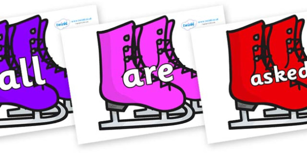 Tricky Words on Ice Skates - Tricky words, DfES Letters and Sounds, Letters and sounds, display, words