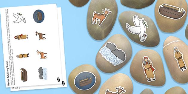 Noah's Ark Story Stones - Bible, Christian story, stories, Noah, animals