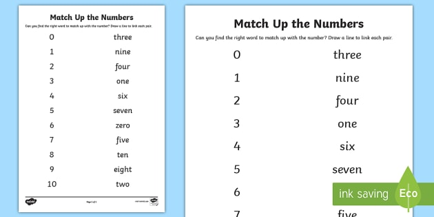 Numbers 0-100 Matching Words and Digits Worksheet / Activity