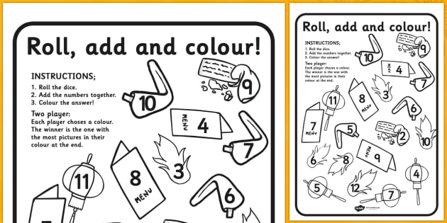 Chinese New Year Roll and Colour Worksheet - chinese new year