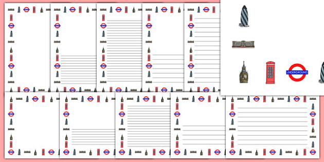 London Page Borders - London, England, Great Britain, capital, page border, border, writing template, writing aid, writing, Buckingham Palace, London Eye, Big Ben, Houses of Parliament