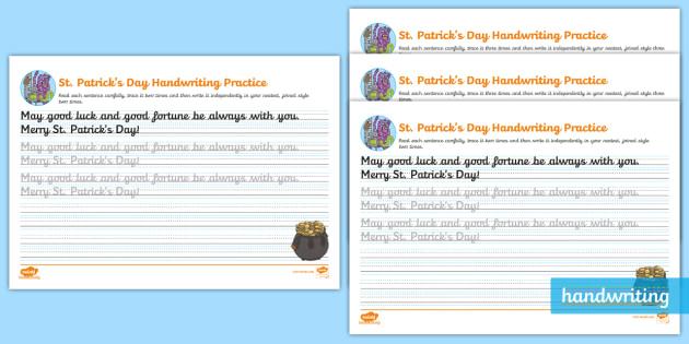 st patrick 39 s day continuous cursive worksheet ks2. Black Bedroom Furniture Sets. Home Design Ideas