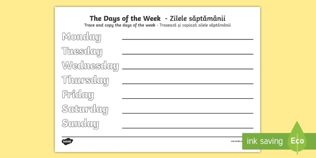 days of the week practice writing worksheet activity sheet. Black Bedroom Furniture Sets. Home Design Ideas