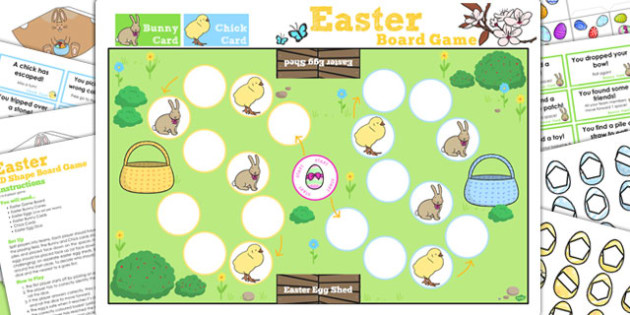 2D Shape Easter Bunny Hop Board Game - activity, activities