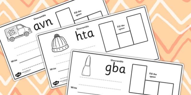 CVC Spelling Cards A - CVC, spelling, cards, A, word cards