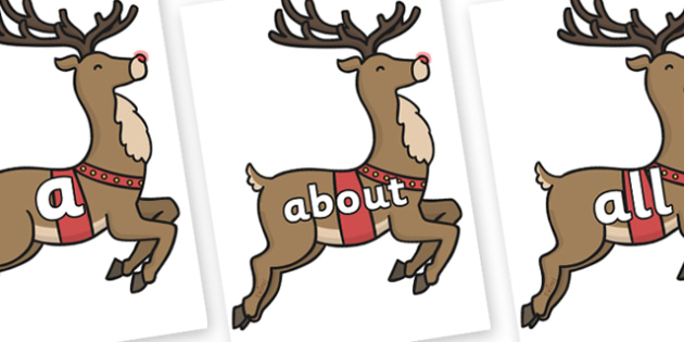100 High Frequency Words on Rudolph - High frequency words, hfw, DfES Letters and Sounds, Letters and Sounds, display words