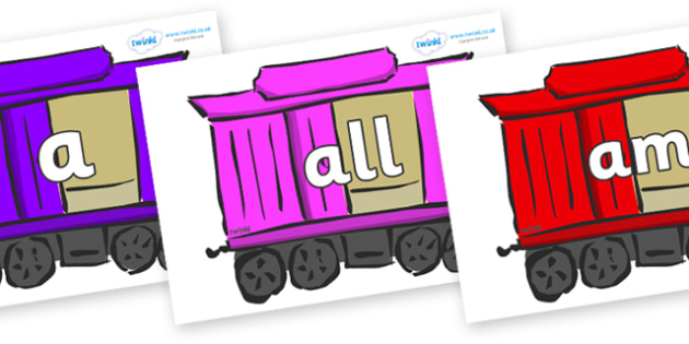 Foundation Stage 2 Keywords on Carriages - FS2, CLL, keywords, Communication language and literacy,  Display, Key words, high frequency words, foundation stage literacy, DfES Letters and Sounds, Letters and Sounds, spelling