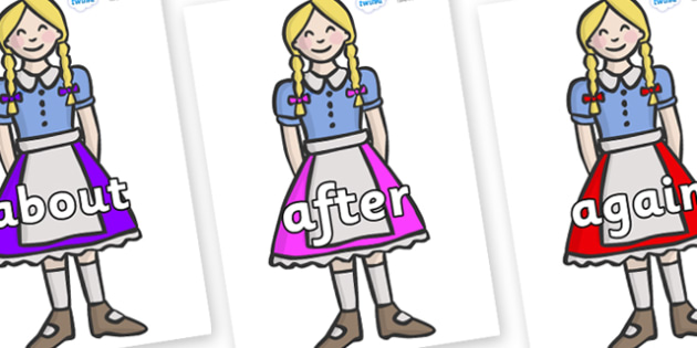 KS1 Keywords on Gretel - KS1, CLL, Communication language and literacy, Display, Key words, high frequency words, foundation stage literacy, DfES Letters and Sounds, Letters and Sounds, spelling