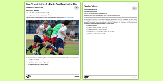 Free Time Activities 2 Photo Card Foundation Tier Spanish - spanish, free time activities, hobbies, pasatiempos, photo card, foundation, speaking