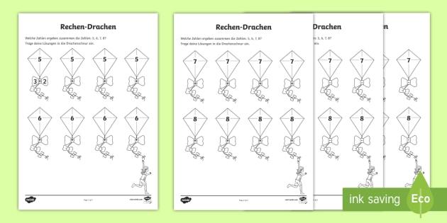 Frühling Zahlen-Drachen Arbeitsblatt - Frühling